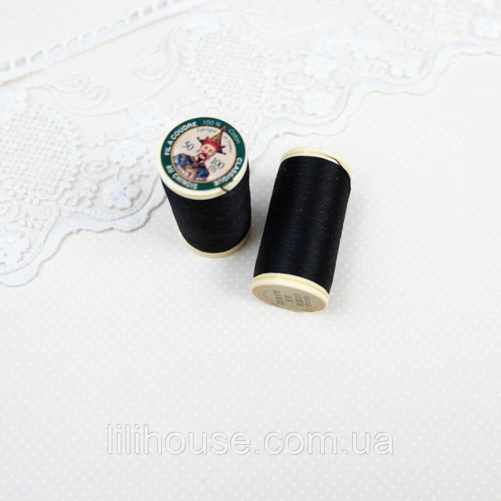 6180. Нить хлопковая Au Chinois, Сotton №50 - 100 м, черный