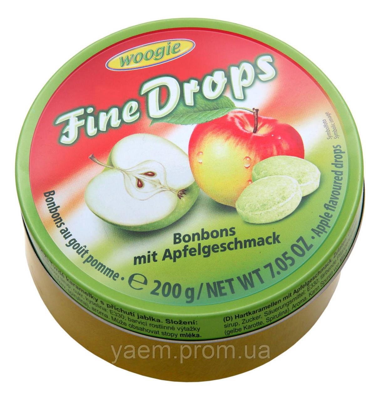 Леденцы со вкусом яблока Woogie Fine Drops Bonbons mit Apfelgeschmack 200гр