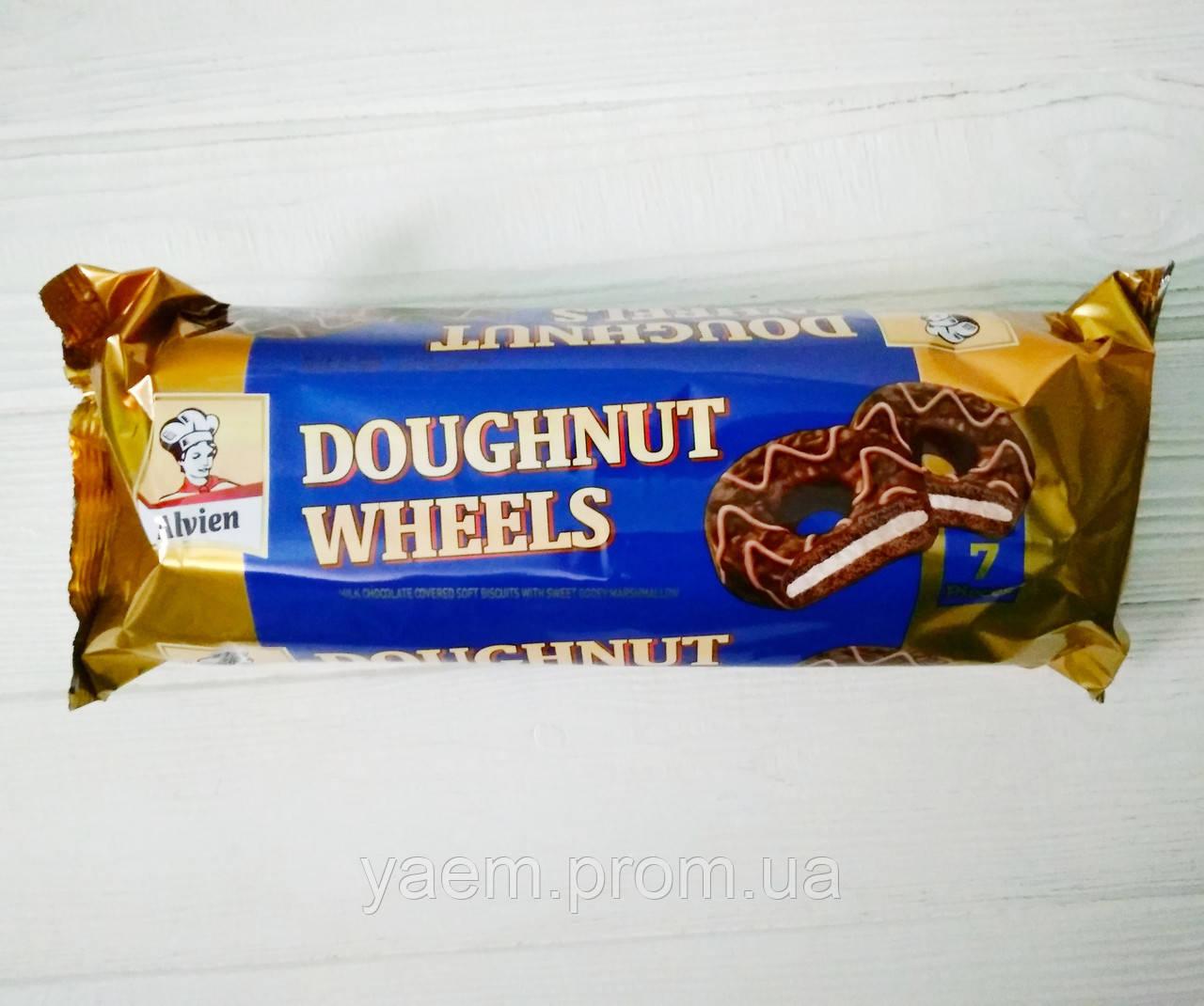 Шоколадное печенье с зефиром Alvien Doughnut Wheels, 7шт (Турция)