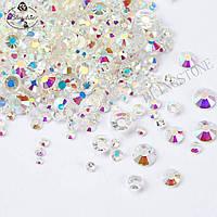 Камни сваровски разного размера Хрусталь S3-SS12 стекло 1440 штук