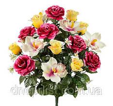 """Букет искусственный """"Розы и орхидеи VIP"""" 18 цветков, 12 см, 58 см (5 видов)"""