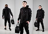 Мужской анораки President ,комплект штаны + куртка + барсетка в Подарок! (черный)