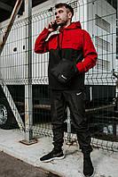 Мужской анораки President / комплект штаны + куртка + барсетка в Подарок / (черный-красный)