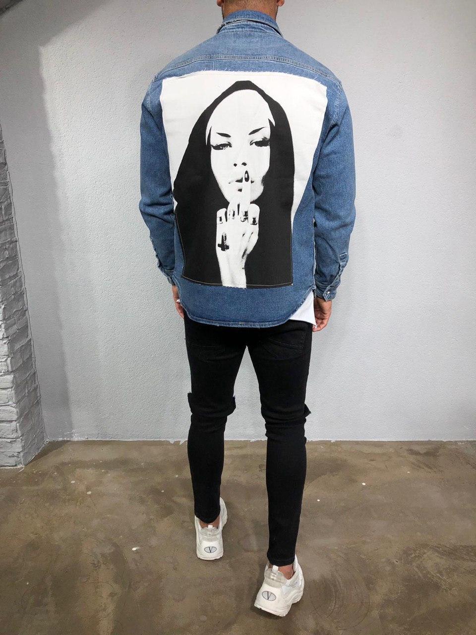 😜 Мужская рубашка джинсовая (синяя) с необычным дизайном