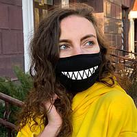 Улыбка с зубами Черная защитная маска из хлопка с принтом