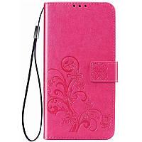 Кожаный чехол (книжка) Four-leaf Clover с визитницей для Samsung Galaxy M20, фото 1