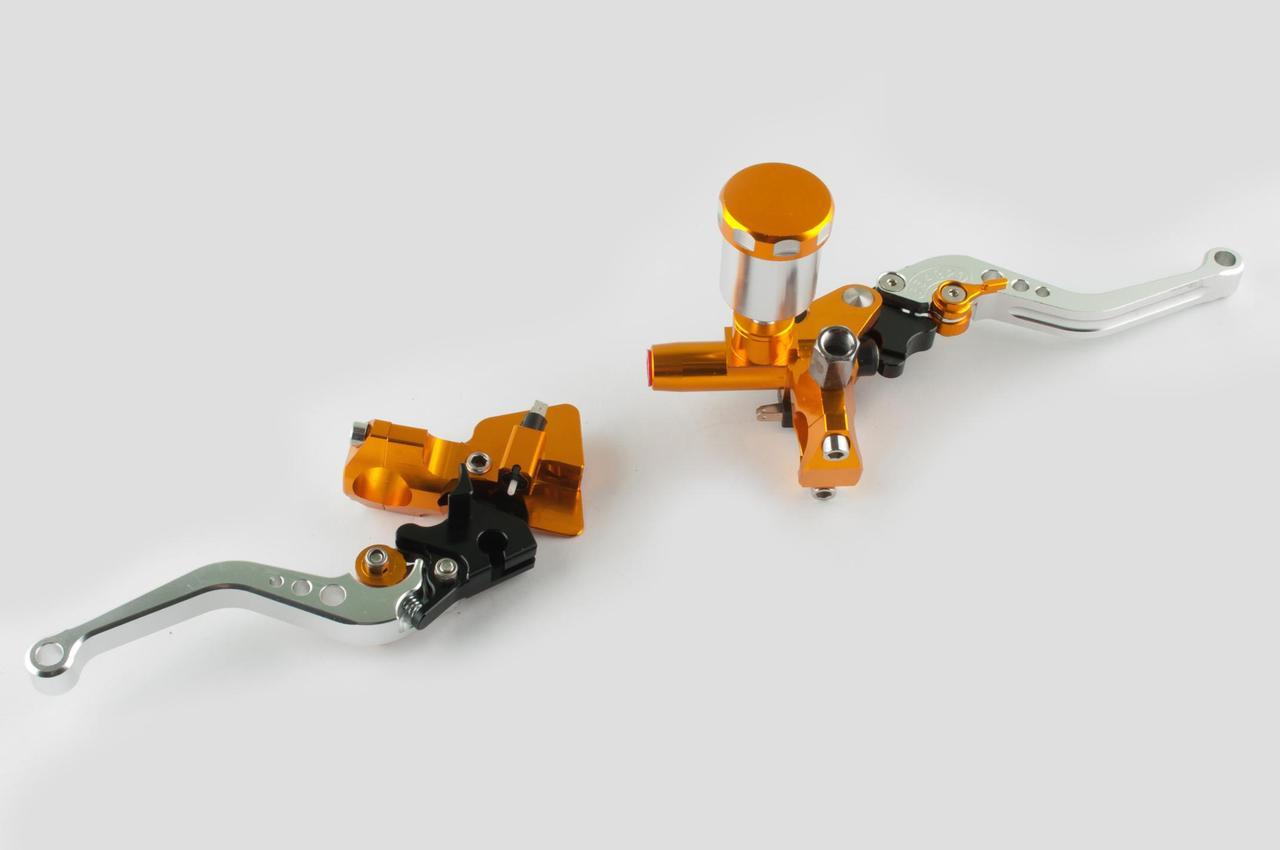 Рычаги руля (пара)   универсальные   (диск/барабан, ГТЦ, крепление)   RIDE IT   (желтые)