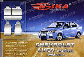 Авточехлы Chevrolet Aveo 2002-2011 (красный) Nika