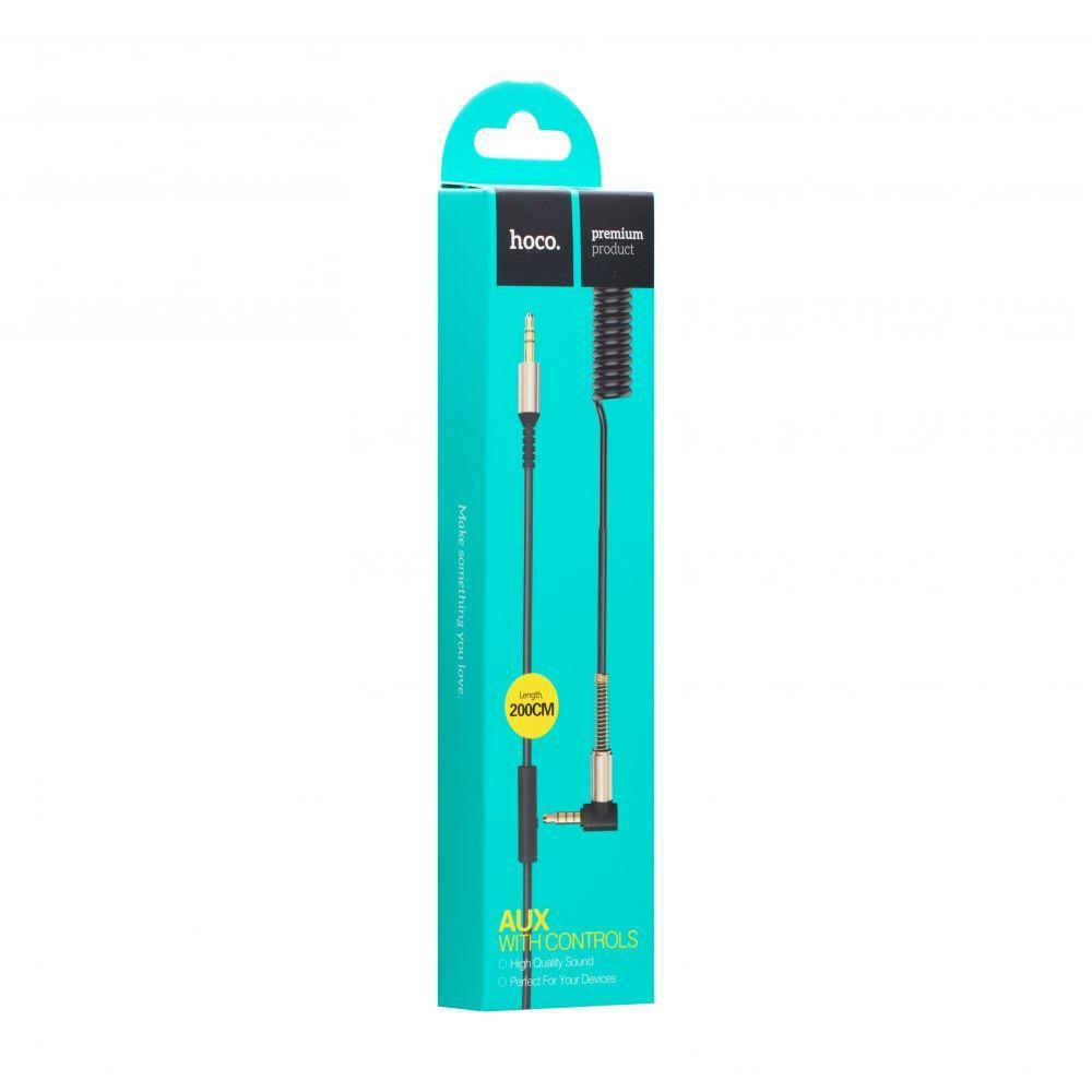 AUX кабель Hoco UPA02 Spring Audio с микрофоном (2м, черный)
