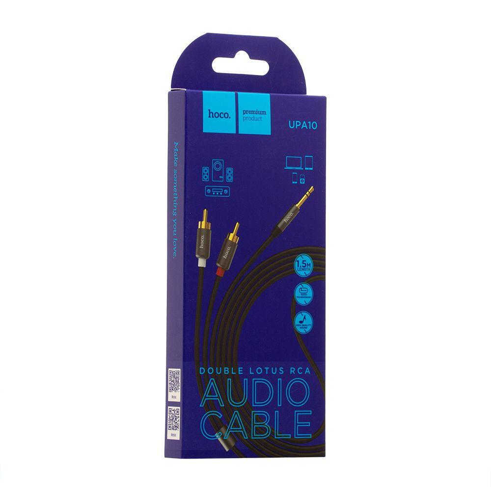 AUX кабель Hoco UPA10 Lotus Double RCA Audio (два тюльпана, 155см, серый)
