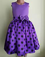 Святкова дитяча фіолетова сукня з бантом, фото 1