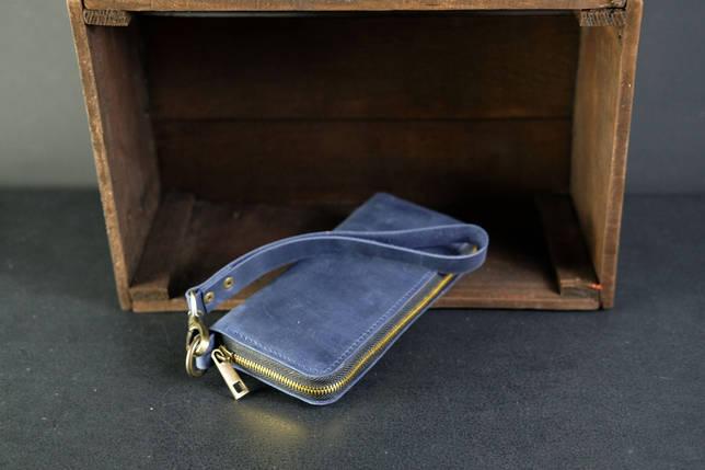Кошелек клатч на круговой молнии с ремешком Винтажная кожа цвет синий, фото 2