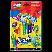 """Фломастеры """"Brush"""" с пишущим узлом в виде кисти, 10 цветов"""