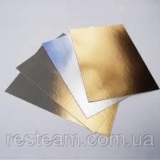 Подложка для торта  7*14 см золото-серебро