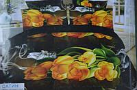 Постельное белье двуспальное евро Лилия HD - желтые тюльпаны