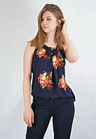 Стильная блузка-майка летняя шелковая высокие бретели открытые лопатки 55986 CARLA Турция, фото 1