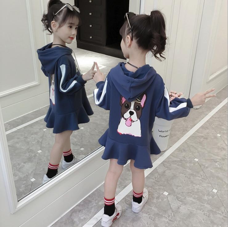 Платье -туника   на девочку с капюшоном    4-6 лет синее