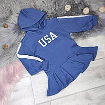 Платье -туника   на девочку с капюшоном    4-6 лет синее, фото 2