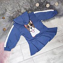Платье -туника   на девочку с капюшоном    4-6 лет синее, фото 3