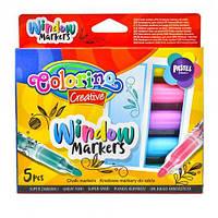 Смываемые маркеры для рисования на стекле, 5 цветов, Colorino