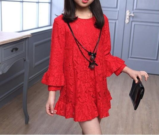 Повседневное  платье на девочку длинный рукав  4-7 лет  красное