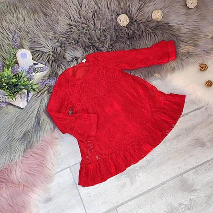 Повседневное  платье на девочку длинный рукав  4-7 лет  красное, фото 2
