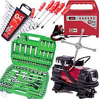 ✅ 6в1 INTERTOOL набор инструментов 108 ед. ET-6108SP, набор ключей 12 шт HT-1203, набор ударных отверток HT-0403, комперссор AC-0001, зарядное