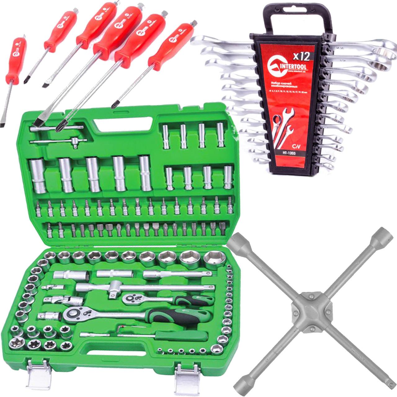 ✅ Набор инструментов 108 ед.Intertool ET-6108SP + набор ключей 12 ед.HT-1203 + Набор ударных отверток 6 шт