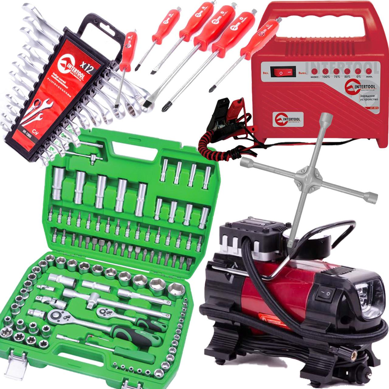 ✅ Подарочный набор 6в1 INTERTOOL набор инструментов 108 ед. ET-6108SP, набор ключей 12 шт HT-1203, набор