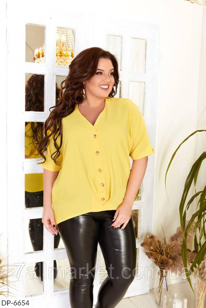 """Блузка женская летняя жатка модель 3359 (50, 52, 54, 56) """"KAPIHA"""" недорого от прямого поставщика"""