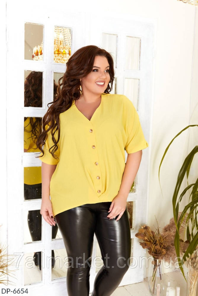 "Блузка жіноча полубатальная жатка модель 3359 (50, 52, 54, 56) ""KAPIHA"" недорого від прямого постачальника AP"