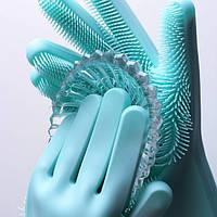 🔝 Перчатки хозяйственные силиконовые для мытья посуды и уборки Magic Silicone Gloves Бирюзовые (рукавички) | 🎁%🚚