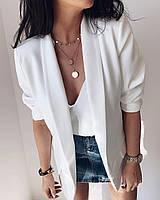 Стильный пиджак женский удлиненный из легкой ткани без пуговиц (Норма)