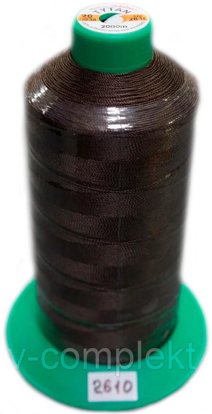 Нить Титан №20 2000 м. Польша цвет (2610) темно-коричневий.