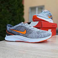 Мужские кроссовки в стиле Nike Zoom Air серые с оранжевым, фото 1