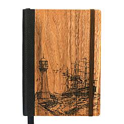 """Эко Записная книжка с черными листами А5 """"Маяк"""", деревянный в книжном переплете, 96 л"""