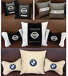 Подушки с логотипом в машину, госномером, подголовники автомобильные с вышивкой, фото 4