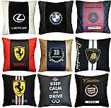 Подушки с логотипом в машину, госномером, подголовники автомобильные с вышивкой, фото 5