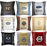Подушки с логотипом в машину, госномером, подголовники автомобильные с вышивкой, фото 8