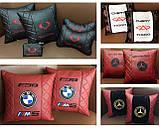 Подушки с логотипом в машину, госномером, подголовники автомобильные с вышивкой, фото 9
