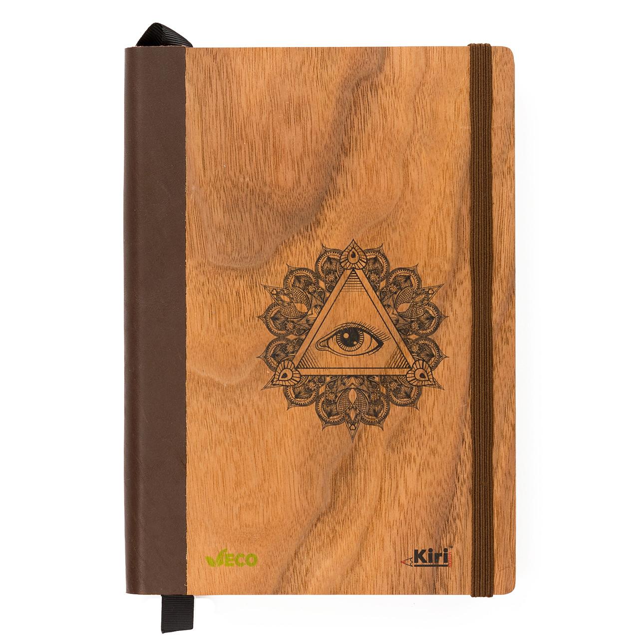 """Эко Записная книжка с черными листами А5 """"Глаз"""", деревянный в книжном переплете + белая ручка, 96 л"""