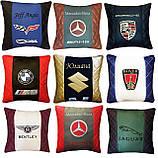 Подушка с логотипом машины в салон авто, подушка-подголовник, фото 6