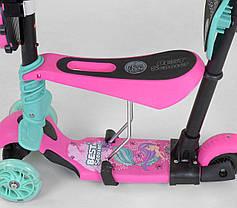 Детский самокат Scooter 5 в 1, самокат беговел с сиденьем и родительской ручкой - Розовый, фото 2