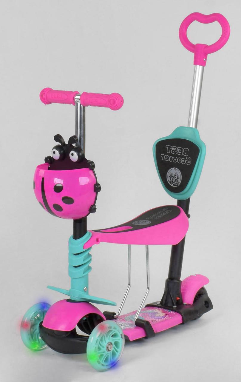 Детский самокат Scooter 5 в 1, самокат беговел с сиденьем и родительской ручкой - Розовый