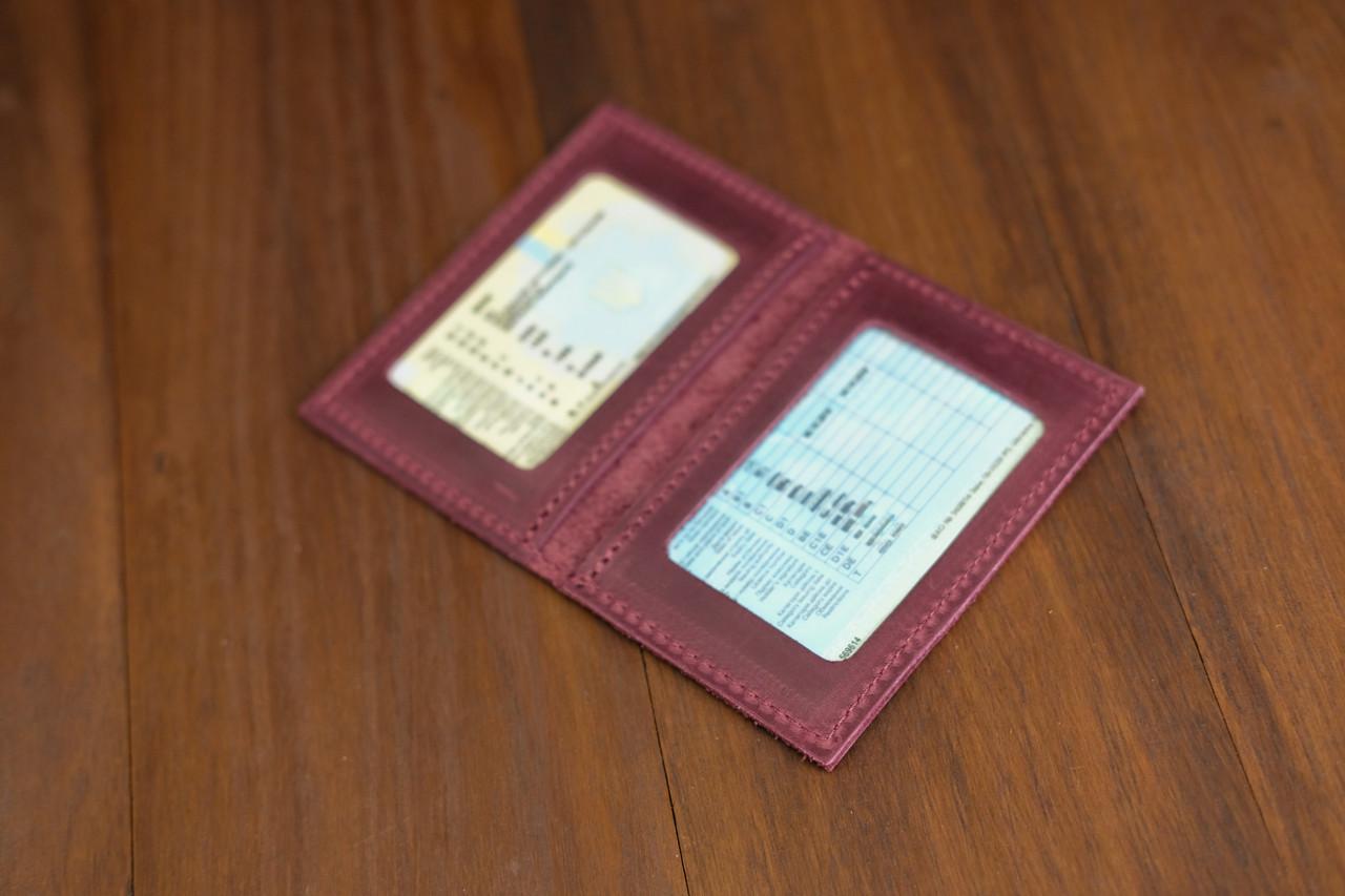 Обкладинка на дві карти Вінтажна шкіра колір Бордо