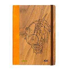 """Эко Записная книжка с черными листами А5 """"Единорог"""", деревянный в книжном переплете, 96 л"""