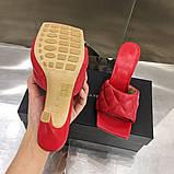 Шкіряні шльопанці, сандалі Боттега на підборах, фото 4