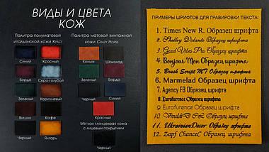 Обкладинка на дві карти Шкіра Італійський краст колір Чорний, фото 2