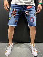 Джинсовые шорты мужские синие узкие с нашивками со змеей с рисунком Модные шорты мужские джинсовые 29,32