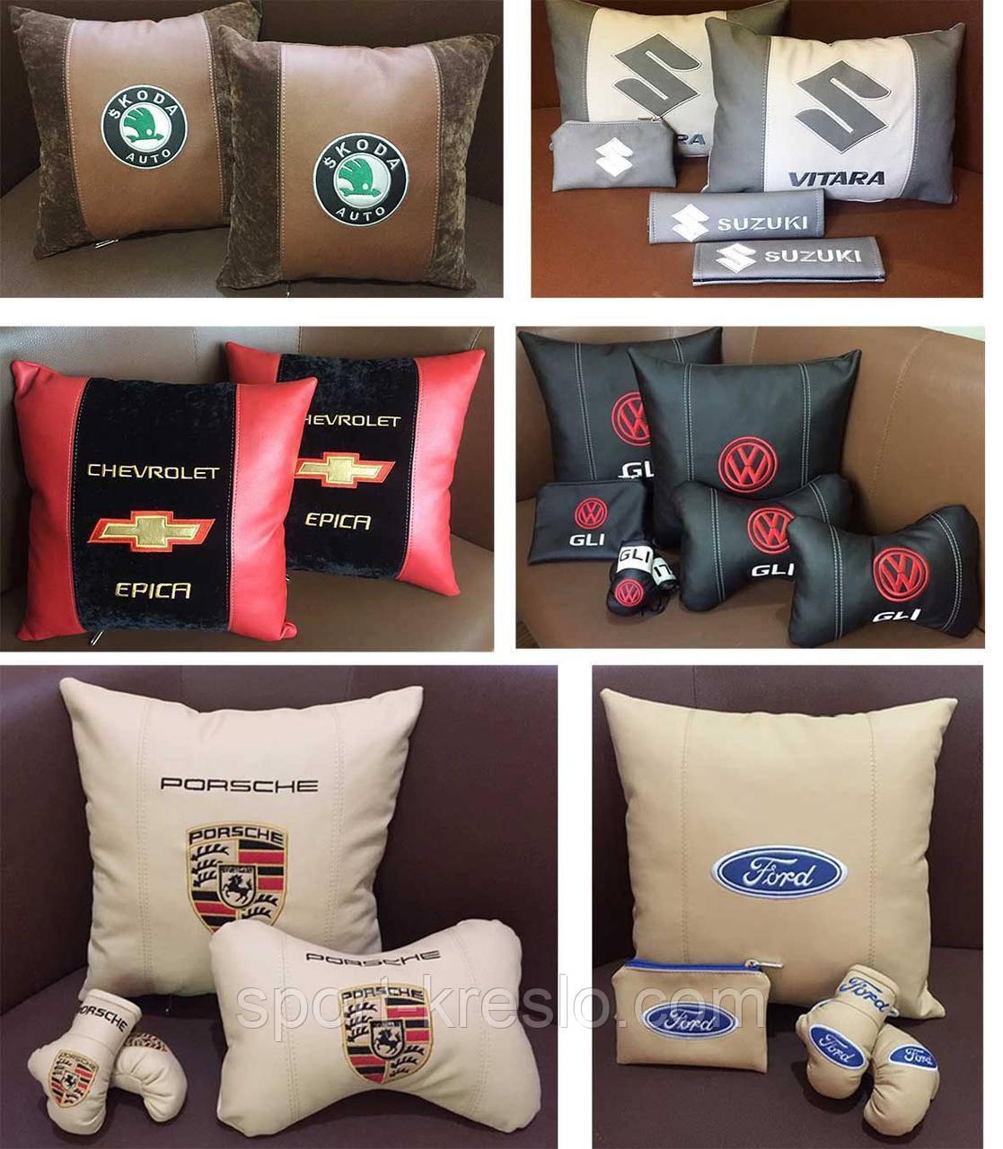 Подушка с логотипом в машину, подушки-подголовники, автоаксессуары